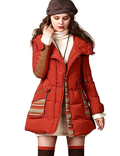 Artka Women's Winter Ethnic Pocket Belted Hoodie 90% Duck Down Coat,Red,L by Artka
