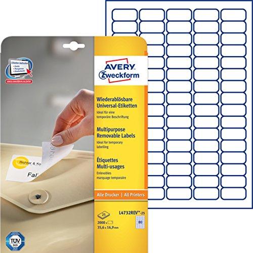 Avery Zweckform L4732REV-25 Universal-Etiketten (A4, 2,000 Etiketten ablösbar, 35,6 x 16,9 mm) 25 Blatt weiß