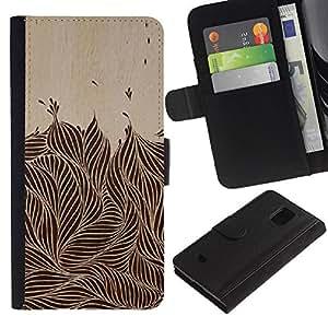 KingStore / Leather Etui en cuir / Samsung Galaxy S5 Mini, SM-G800 / Tinta Vintage Brown Negro Follaje