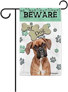 BAGEYOU Beware of Dog Boxer Decorative Garden Flag Puppy Paws Bone Home Decor Yard Banner for Outside 12.5X18 Inch Printed Double Sided