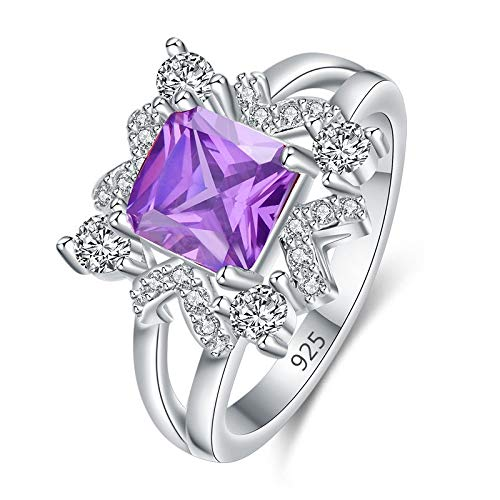 Clasp Geometrical Pearl - V-MONI Geometrical Minimalist Set with Square Purple Crystal Zircon Ring Platinum Gold 925 Fashion Ring 8