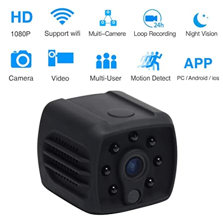 Home Security Mini Hidden Camera with Motion Detection, Wall Mount, HD Video, Cloud Storage and WiFi Black