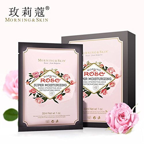 Morning Skin Super Moisturizing Rose Hydrating Oxygenated Face Masks, from Morning of Damascus Bulgarian - Whitening, Tender Skin, Fade Spots, Deep Clean, Contractive Pores, 25ml x 6 Pieces(Face Mask)