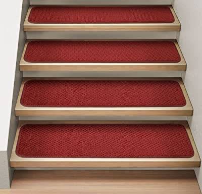 Set of 15 Attachable Indoor Carpet Stair Treads - Brick Red - Several Other Sizes to Choose From