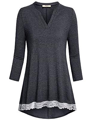 Miusey Women's Casual Henley V Neck 3/4 Sleeve Tunic Tops Vintage Lace Hem Shirt