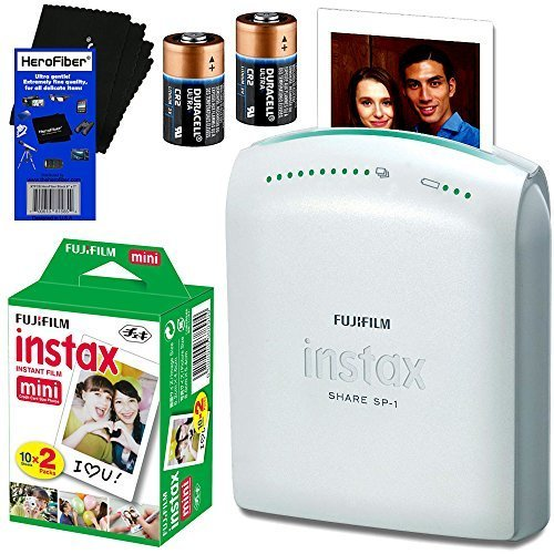 Fujifilm Instax Share SP-1 Smartphone Printer + Fujifilm Instax Mini Instant Film (20 sheets) + 2 CR2 Lithium Replacement Batteries + HeroFiber Ultra Gentle Cleaning Cloth by HeroFiber