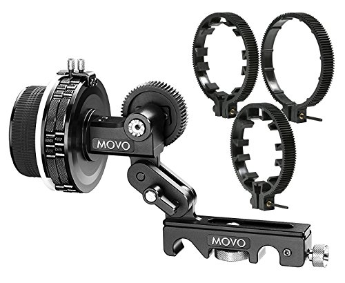 Movo F2X Precision Follow Focus System with Hard Stops & 65mm, 75mm & 85mm Adjustable Gear Rings