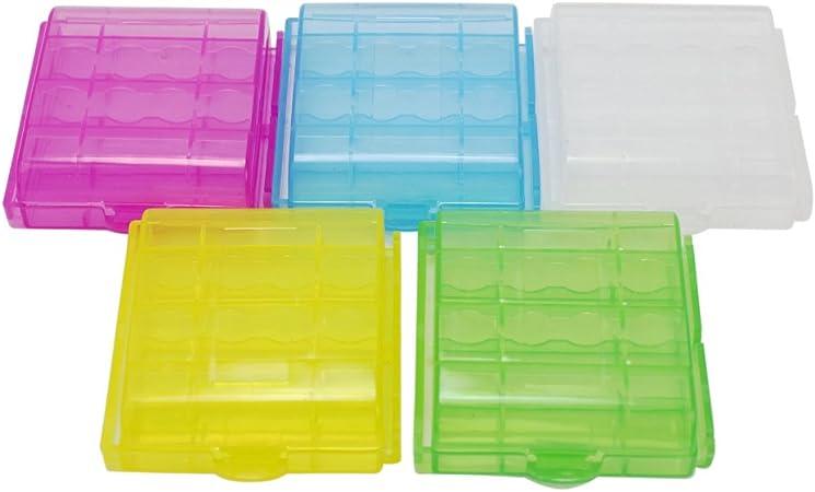 5PCS Caja Estuche de Plástico Para Almacenaje Pilas Baterías Tipo AA y AAA: Amazon.es: Hogar