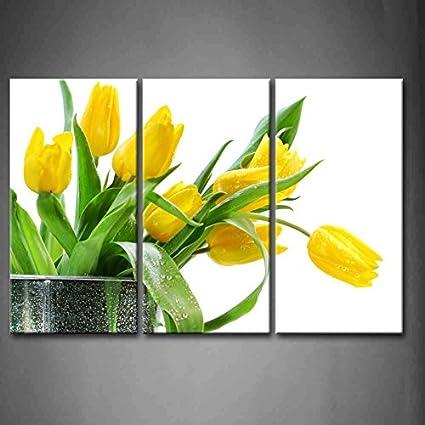 Amazon.com: First Wall Art - 3 Panel Wall Art Green Spring Flowers ...