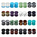 BOPREINA 16 Pairs Acrylic & Wood & Mixed Stone Ear Tunnels Plug Ear Stretcher Expander Set Double-flared Flesh Tunnels Gauge 0g-5/8''