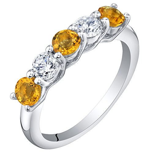 Peora Citrine Half Eternity Rings form Women in Sterling Silver, 0.50 Carat total, Dainty Trellis Band, 3.5mm, Size 6