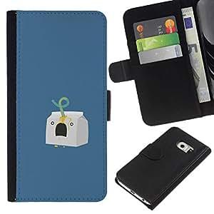 NEECELL GIFT forCITY // Billetera de cuero Caso Cubierta de protección Carcasa / Leather Wallet Case for Samsung Galaxy S6 EDGE // Cartón de la leche Asesinato divertido