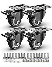 HAUSEE 4 stuks 75 mm transportwielen zwenkwielen met rem strandstoel zwenkwielen zware wielen industriële wielen draagvermogen 1200 lbs