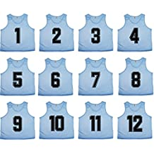Oso Athletics Sets 12 (#1-12, 13-24) Premium Polyester Mesh Numbered Jerseys Pinnies Scrimmage Vests Bibs Children, Youth & Adult Team Sports Soccer, Basketball, Football, Lacrosse, Hockey