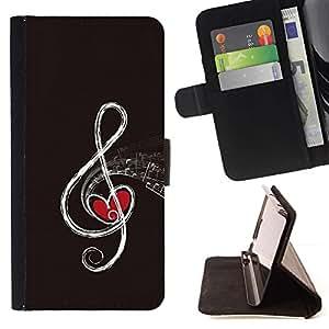 Momo Phone Case / Flip Funda de Cuero Case Cover - Nota musical;;;;;;;; - HTC One M7