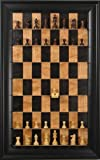 Rosewood Chess set on Black Cherry vertical Straight Up Chess Board