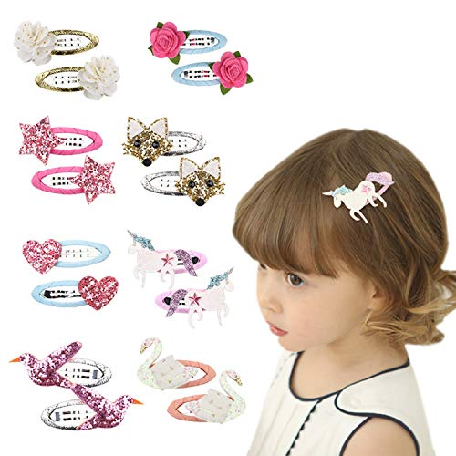Baby Girls Hair Clips Cute Animal Hair Clips Bow Unicorn Butterfly Flower for Baby Girl Toddlers Kids(8 Pairs) (multi) ()
