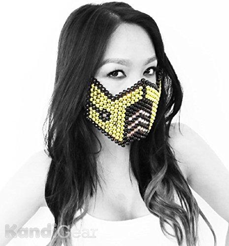 Mortal Kombat Gold Subzero Kandi Bead Mask, Rave Wear, Rave Gear, (All Mortal Kombat Costumes)