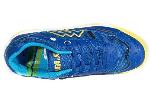 AGLA - Zapatillas de fútbol sala de Material Sintético para hombre Amarillo amarillo 27.5 Azul