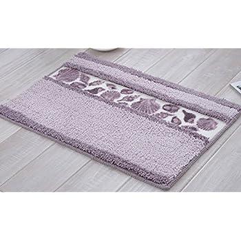 ... Beautiful Seashell Pattern Shaggy Area Rug Soft Non Slip Absorbent  Doormat Bath Mat Bathroom Shower Rug Bedroom Living Room Carpet (4060cm,Light  Purple)
