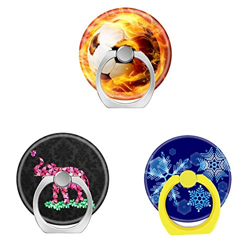(Bsxeos 360°Rotation Cell Phone Ring Holder with Car Mount Work for All Smartphones and Tablets-Floral Elephant Pink Sakura Blossoms Black Damask-Falling Blue Snowflakes-fire Football(3 Pack))