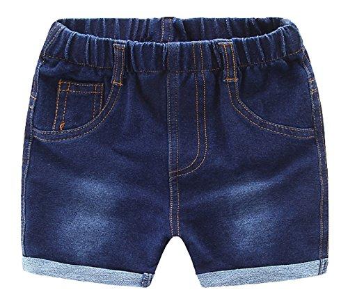 MMWORM Baby Short Pants Summer Short Trousers Denim Jeans Ripped Jeans Short Pants Elastic Waist Short Trousers for Baby Boys Girls Dark Blue by MMWORM