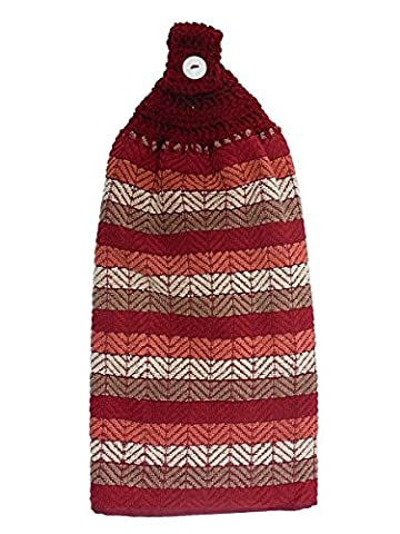 Red Grey Salmon Orange Striped Double Kitchen Cotton Hand Towel Crochet Top - Traditional Double Towel