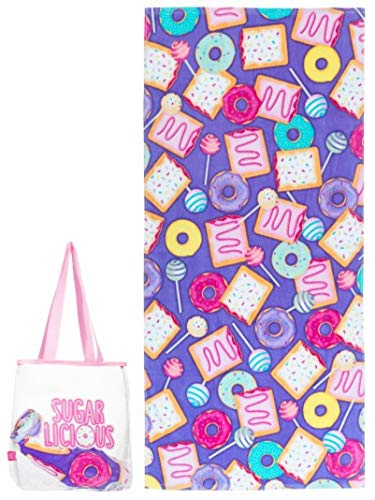 Girls Deluxe Cotton Terry Velour Beach Towel and Waterproof Tote Bag Set - Sugarlicious Design Deluxe Beach Tote Bag