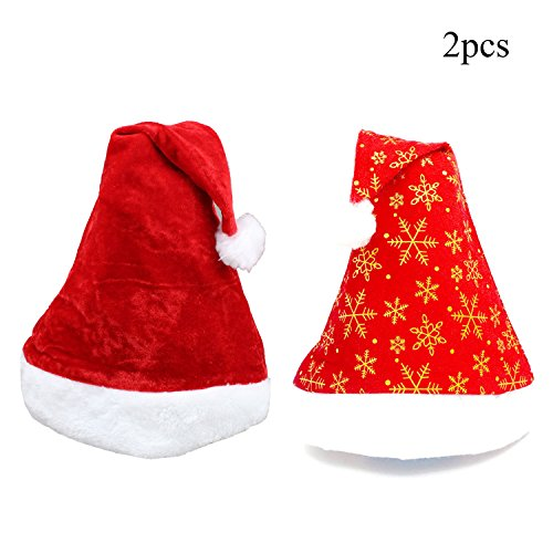 TTVOVO Plush Christmas Santa Hat Merry Christmas Gold Snowflake Hat Party Supplies for Adults Costume Classic Hat - 2Pcs (Snowman Santa Hat)