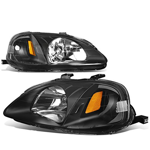 For Honda Civic EJ EK EM Pair of Black Housing Amber Corner Headlight Lamp Kit Replacement ()