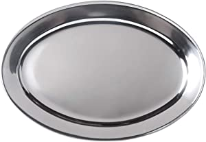 Stainless Steel Oval Platter, Large, 26 x 18-Inch Serving Platter by Tezzorio