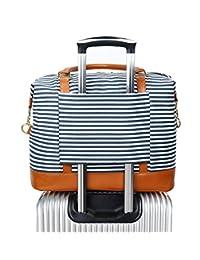 Women Ladies Canvas Weekender Bag Overnight Carry-on Tote Duffel in Trolley Handle (Blue Stripe)