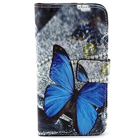 Galaxy Avant Case,IVY [Kickstand Flip Case] Galaxy Avant G386 Case [Blue Butterfly] Premium Soft TPU Synthetic Leather Flip Cover [Money Card Slot],Wallet Case for Samsung Galaxy Avant G386T,Samsung Galaxy Core LTE 4G (Samsung Galaxy Core Lte Case G386)