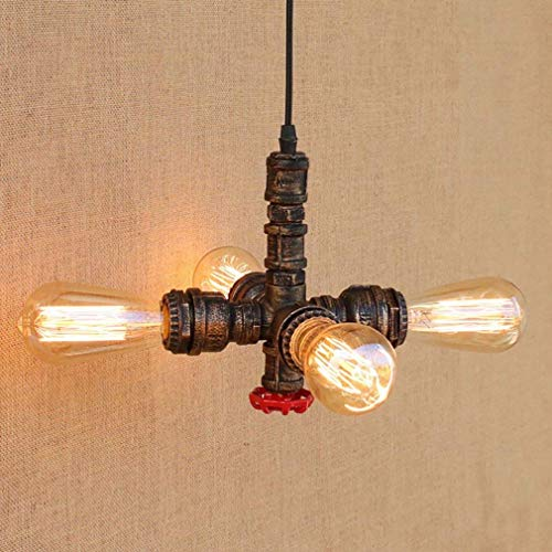 BOSSLV Antique Chandelier Industrial Wrought Iron Metal 4 Lamp Chandelier Parlor Dining Hall Bedchamber Pipe Height Adjustable Ceiling Light E27 Max.40W
