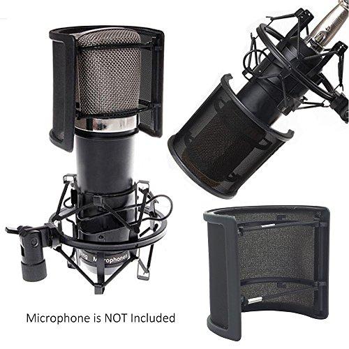 Sywon Metal Mesh and Foam Layer Mic Cover Handheld Microphone Pop Filter Windscreen Wind Screen Studio Shield Mount, Black - Image 4