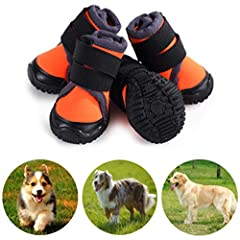 Information:This pair of pet boots will serve as a good partner for your dog, protecting his / her paws against injury from sandstone roads, ice & hot pavement, sharp grass, etc.The sole of the dog shoes is waterproof, robust, flexible an...