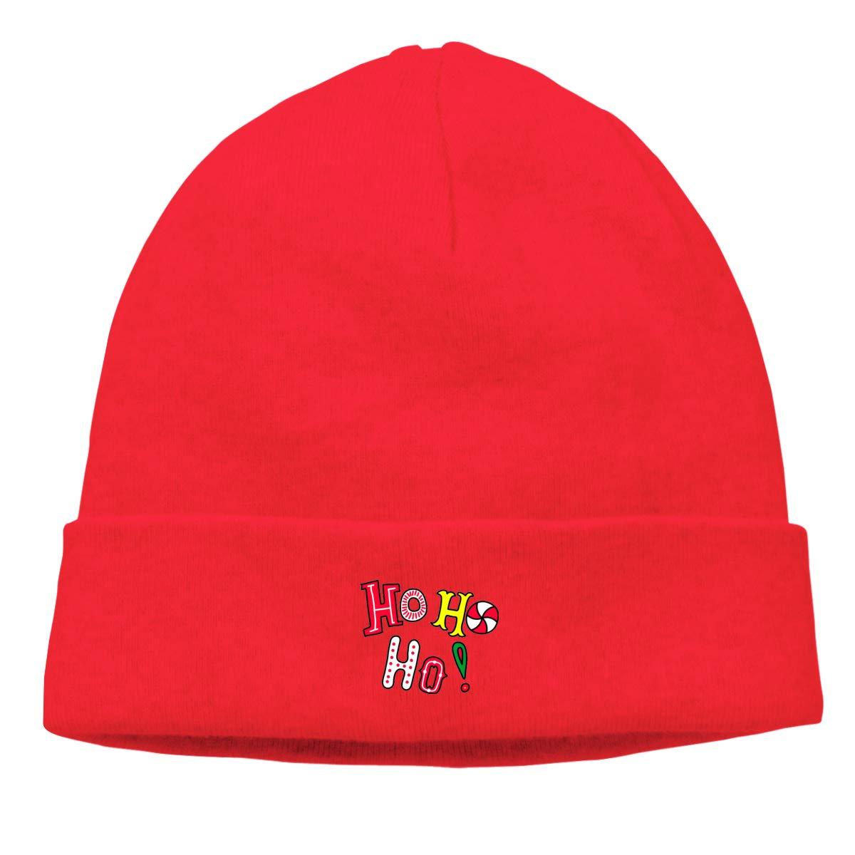Simoner HO HO HO Warm Stretchy Solid Daily Skull Cap,Knit Wool Beanie Hat Black