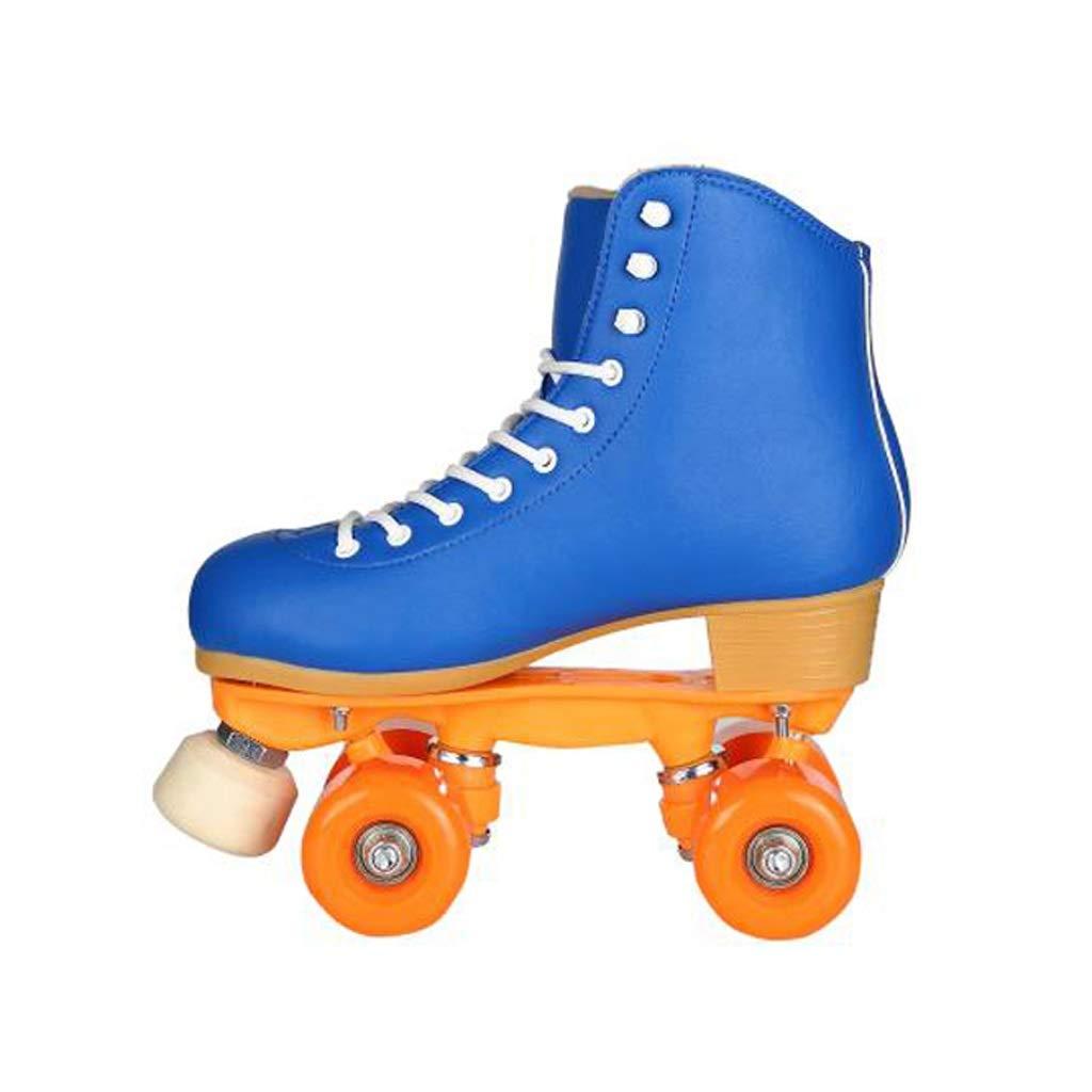 Ailj 複列スケート、 古典的なハイトップ四輪ローラースケート 屋内と屋外の靴に適しています 青 (色 : 青, サイズ さいず : 33) 青