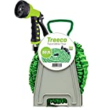 New Expanding Garden Water Hose kit 50 ft Kink-Free Triple Latex. Lightweight & heavy duty flexible collapsible by Treeco with nozzle sprayer & gun set with reel
