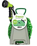 New Expandable Garden Water Hose kit 50 ft Kink-Free Triple Latex Lightweight & heavy duty flexible collapsible by Treeco with nozzle sprayer & gun set with reel