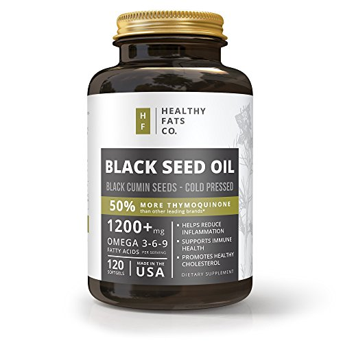 (Premium Organic Black Seed Oil Softgel Capsules, 1200 Milligrams Per Serving, Made from Cold Pressed Black Cumin Seeds, Highest in Thymoquinone, Pure Nigella Sativa by the Healthy Fats Co)