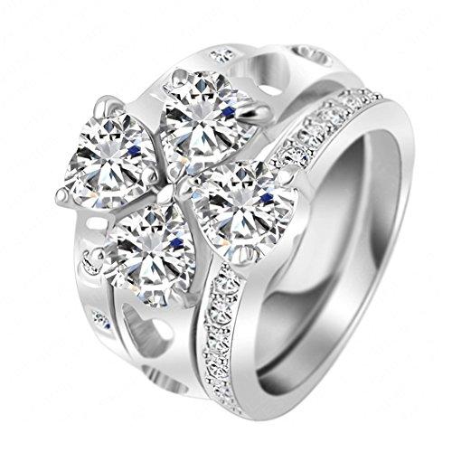 "RI06001C3-8 ""4 Hearts"" Austrian Crystal 18K Ring"