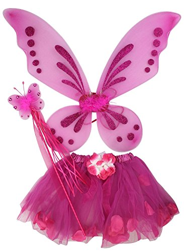 Ganja Girl Costume (Fairy Butterfly Tinker Bell Pixie Costume Tutu Skirt Wings Wand Party Dress Up)