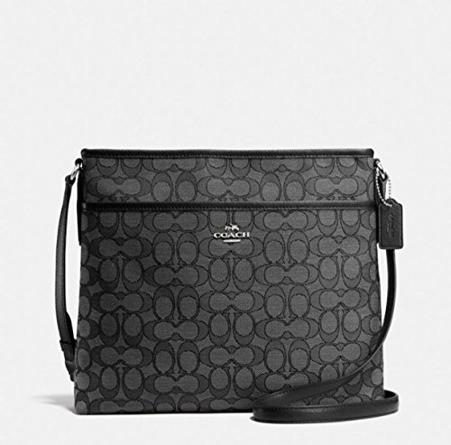 Coach Outline Signature File Bag F58285 SV/BLACK SMOKE/BLACK Crossbody by Coach