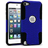 iPod Touch 5 Case, MagicMobile® Hybrid Impact Shockproof Hard Durable Armor Mesh Cover and Soft Silicone Skin Layer [ Blue - Black ] Case With Screen Protector for iPod 5th Generation / Film and Pen Stylus