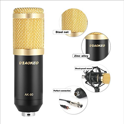 Aokeo AK-80 Professional Studio Recording Condenser Microphone Plug and Play Mic, Cardioid Pickup, Compatible Phone, Computer, Laptop,Youtube, Podcasting,Twitch, Skype,MSN,Gaming,Singing (Black) by aokeo (Image #2)