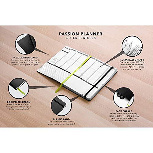 Passion Planner Dated Jan-Dec 2020, Goal Oriented Weekly Agenda and Reflection Journal, Small (A5-5.8 x 8.3 inches) Sunday Start Elite Black