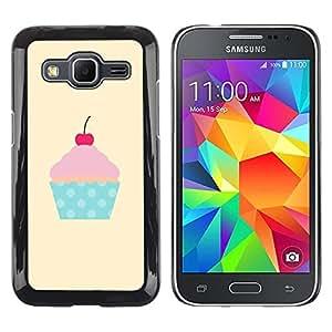 Be Good Phone Accessory // Dura Cáscara cubierta Protectora Caso Carcasa Funda de Protección para Samsung Galaxy Core Prime SM-G360 // cherry yellow polka dot cupcake pink