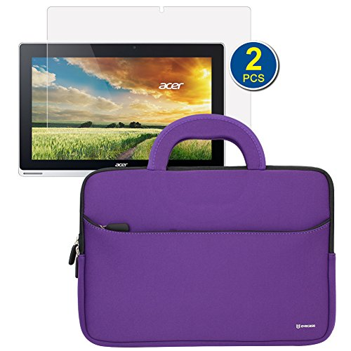 BIRUGEAR Slim Handle Carrying Portfolio Neoprene Sleeve Case w/ 2pcs Screen Protector for Acer Aspire Switch 11 SW5 ( SW5-111/ SW5-171 ) 11.6-Inch Full HD Touchscreen Laptop Tablet PC - Purple