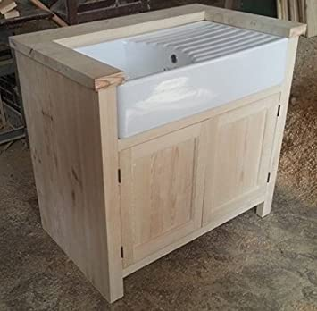 Handcrafted Solid Pine Kitchen Unit (Small) Inc Ceramic Belfast Sink And  Drainer